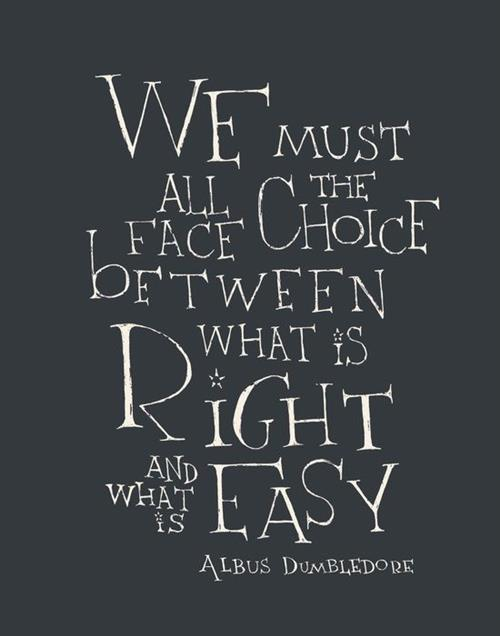 We all must face the choice between what is right and what is easy